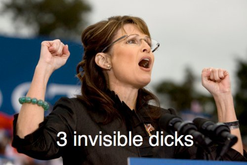 Sarah Palin the brainless: 3 invisible dicks