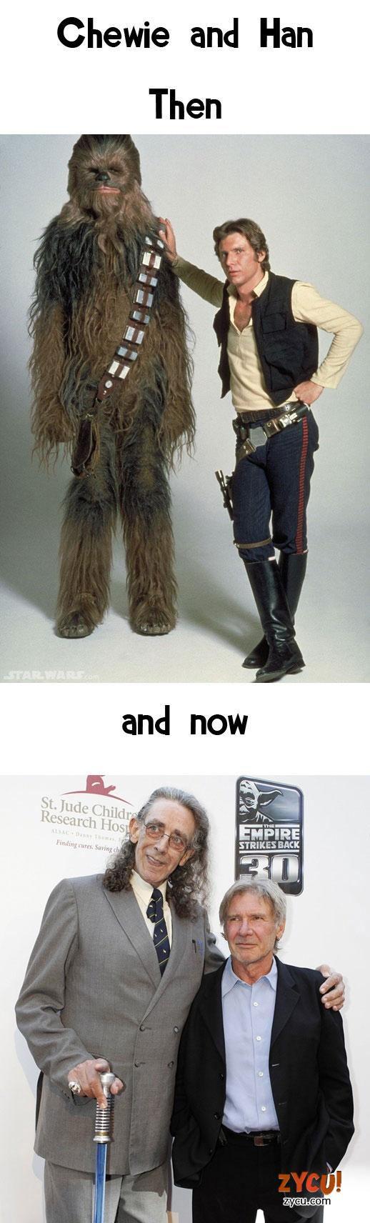 Chewie and Han, Then and Now