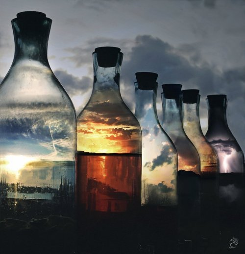 Moments in bottle of glass