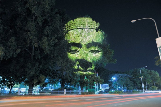 Image projected on Cambodian trees (╯°□°)╯