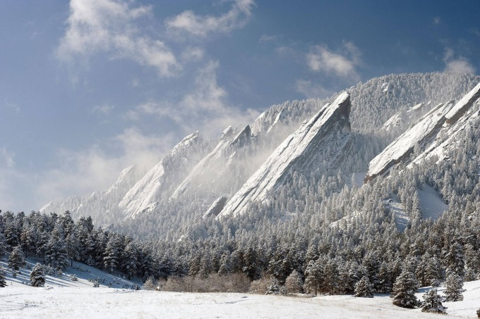 The Flatirons rock formations, Colorado, US