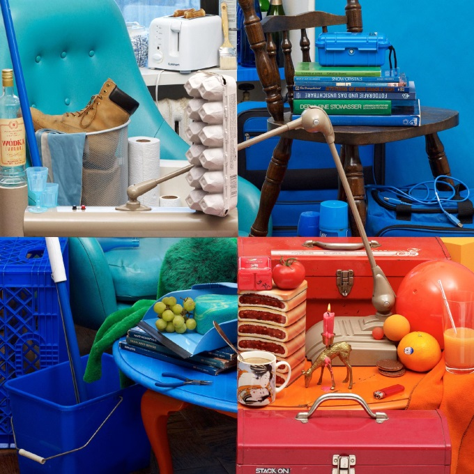 Photography by Bela Borsodi: This is a single picture made by rearranging things in his apartment. (O_O)