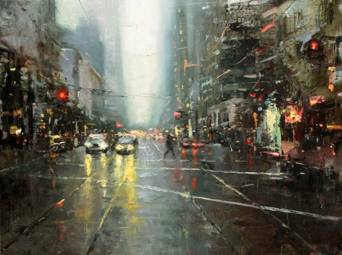 Beautiful oil painting of NY city in autumn