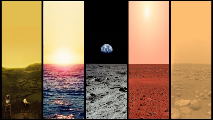 The Plains of Venus, Earth, Moon, Mars, and Titan.