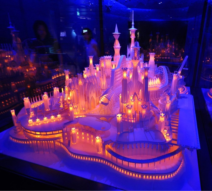 A beautifully lit castle made entirely out of paper ヾ(⌒ー⌒)ノ
