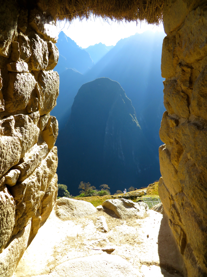 Looking throught the window of the Guard's Hut at sunrise, Macchu Picchu, Peru :)