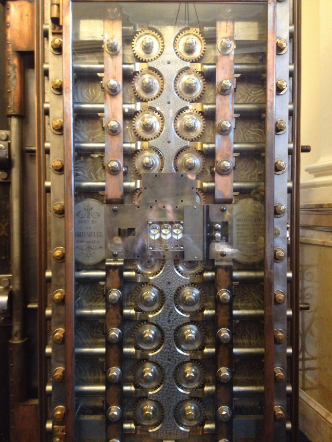 Beautiful engineering inside a vault door from around 1800s