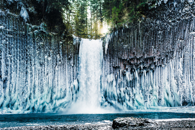 What happens when the mist around a waterfall freezes :)