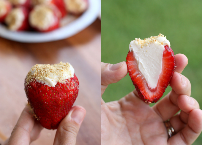 Cheesecake Stuffed Strawberries ~(','~)