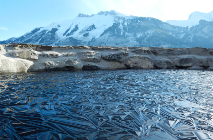 Frozen pond in Switzerland ~(','~)