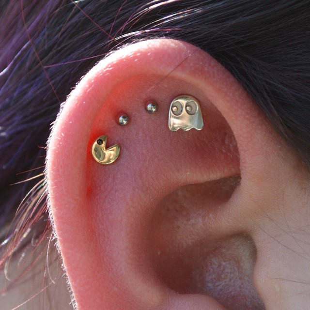 Pac-Man ear piercing :P