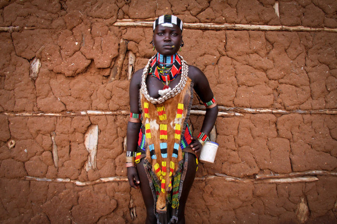Hamar woman, Ethiopia, in her wedding dress