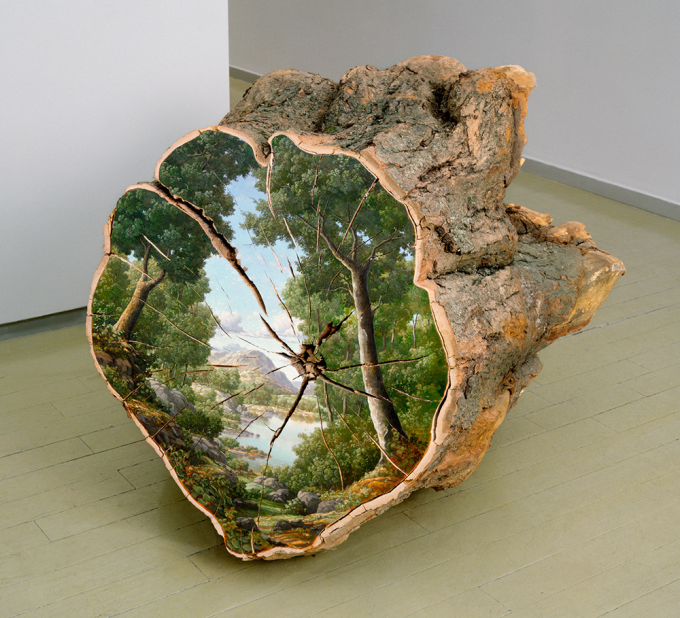 Landscape painted on the surface of a cut log (☞゚ヮ゚)☞