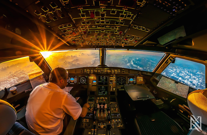 Sunrise in the cockpit