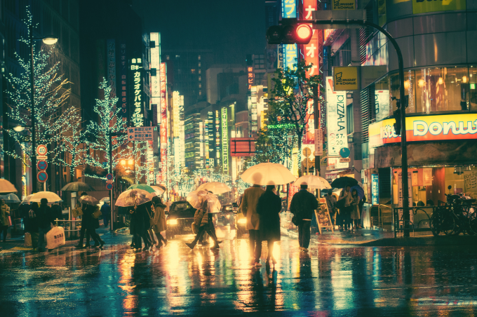 A colorful rainy night in Tokyo ^_^