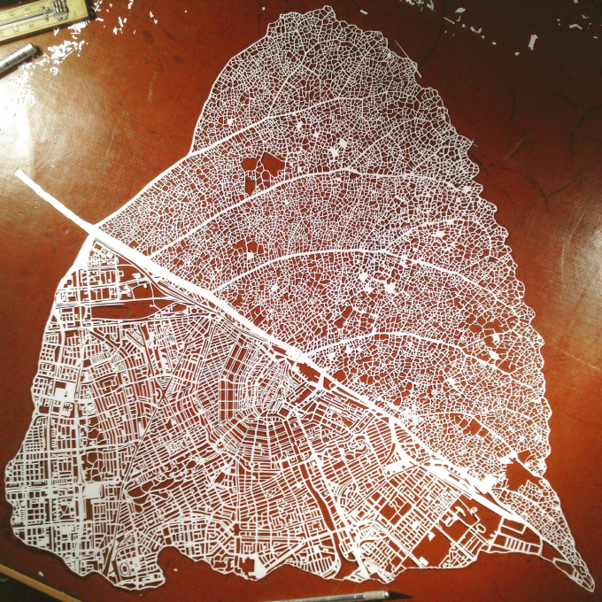 Paper cut leaf map of Amsterdam