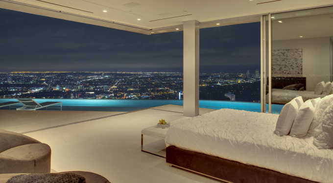 Bedroom with a view of Los Angeles
