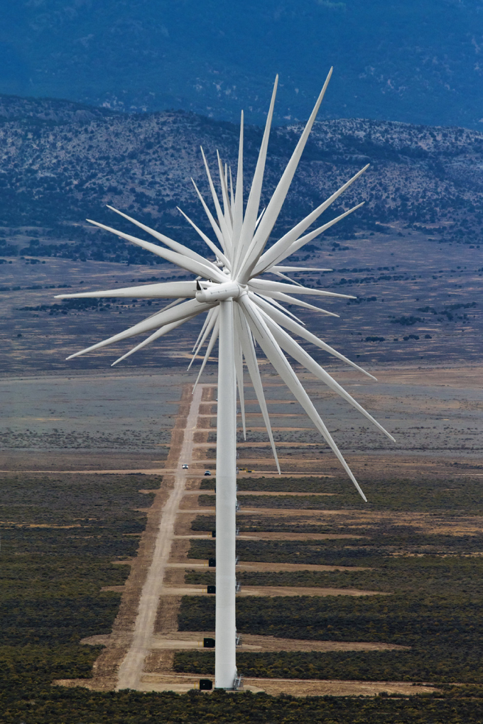 14 Wind Turbines Lined Up, Nevada