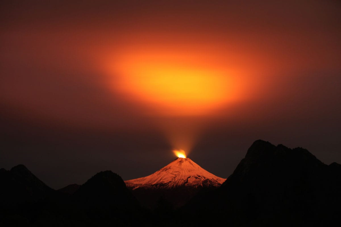 The light from a volcano