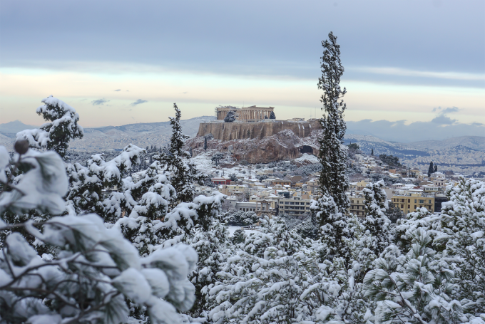 It rarely snows in Athens, Greece, but when it does, it's beautiful