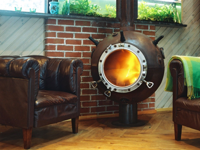 An old naval mine turned into a furnace