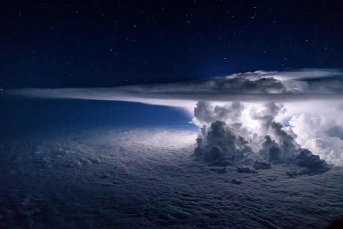 Pacific Storm from 37,000 feet above the ocean