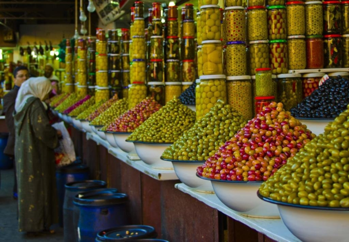 Olive vendors in Marrakesh, Morocco