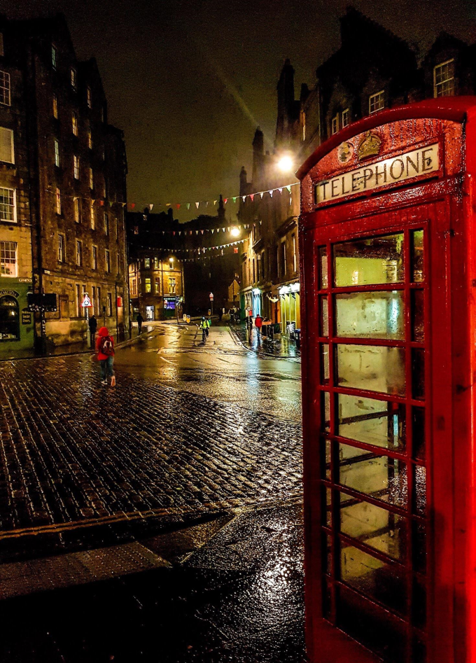 Phone box in rainy Edinburgh